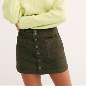 FREE PEOPLE | olive corduroy button down skirt
